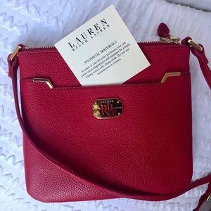 Ralph Lauren red vegan leather crossbody bag